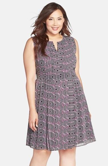 Halogen Sleeveless Pleat Chiffon Dress (Plus Size)