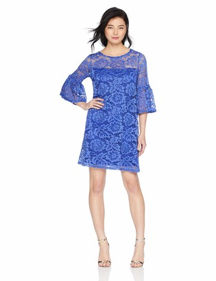 Tiana B Women's Petite lace Trapeze Dress with Ruffle Sleeve