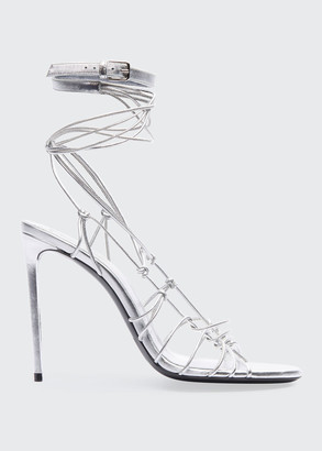 Saint Laurent Robin Metallic Strappy Sandals