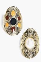 Boohoo Kara Stone Set Antique Ring Pack