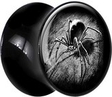 Body Candy Black Acrylic Black and White Spider Saddle Plug Pair 20mm