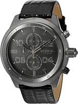Diesel Men's DZ4437 Padlock Gunmetal IP and Leather Watch