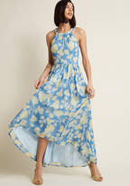 Brave New Whirl Maxi Dress in Blue Floral in XS - Sleeveless A-line by ModCloth