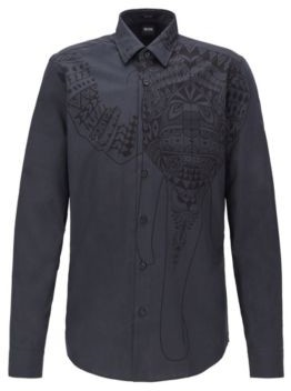 BOSS Regular-fit shirt in Italian cotton with collection print