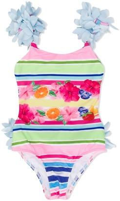 MonnaLisa Striped Petals-Applique Swimsuit