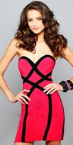Faviana Stretch Jersey Two Tone Sweetheart Homecoming Dress