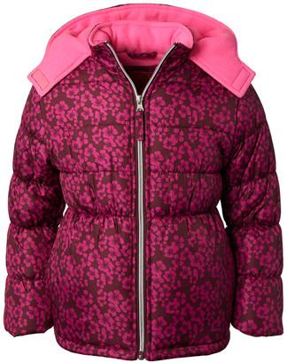 Pink Platinum Girls' Puffer Coats BURGUNDY - Burgundy & Pink Blossom Puffer Coat - Infant