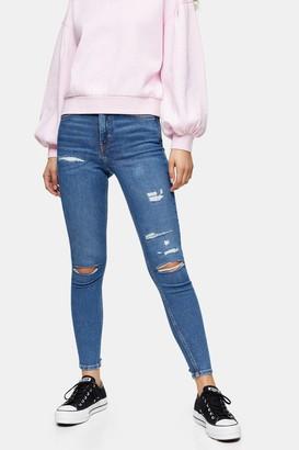 Topshop Womens Mid Blue Rip And Repair Jamie Skinny Jeans - Mid Stone