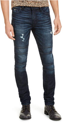 GUESS Men Skinny-Fit Stretch Destroyed Moto Jeans