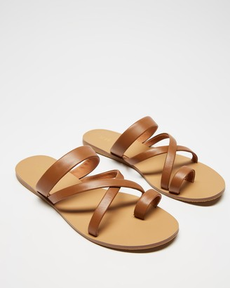 IRIS Footwear - Women's Brown Flat Sandals - Anita - Size One Size, 7 at The Iconic
