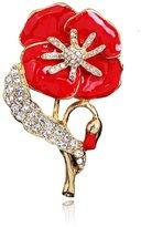 WHATWEARS 1x Ladies Poppy Brooch Diamante British Remembrance Red Lapel Enamel Pretty