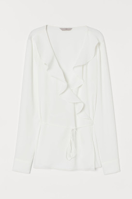 H&M V-neck Wrapover Blouse - White