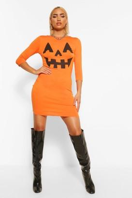 boohoo Pumpkin Print Halloween Bodycon Dress