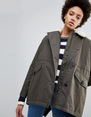 Parka London Zoe Swing Parka Coat with Fleece Collar