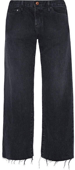 Simon Miller W005 Tilson Cropped Frayed Mid-rise Wide-leg Jeans - Midnight blue