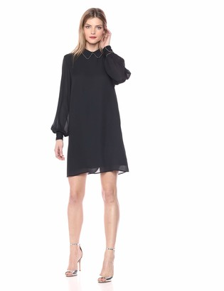 AVEC LES FILLES Women's Shift Dress with Beaded Collar and Cuffs
