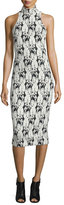 Cushnie et Ochs Embroidery-Print Mock-Neck Halter Dress, Black/White