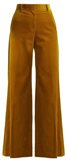 Bella Freud Bianca Wide Leg Cotton Corduroy Trousers - Womens - Dark Yellow
