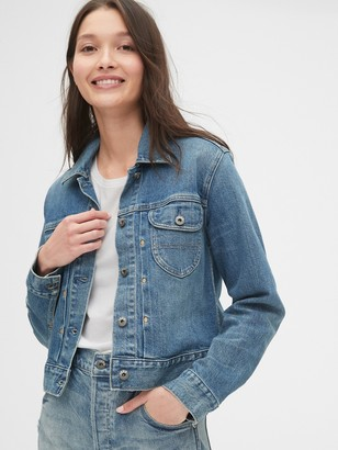 Gap Pleated Icon Denim Jacket with Back Buckle
