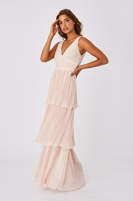 Little Mistress Mariska Bridesmaid Nude Tiered Hem Maxi Dress