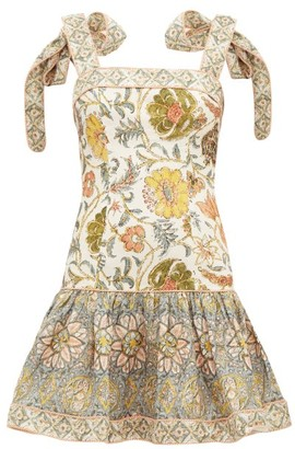 Zimmermann Edie Floral-print Linen Mini Dress - Womens - Green Print