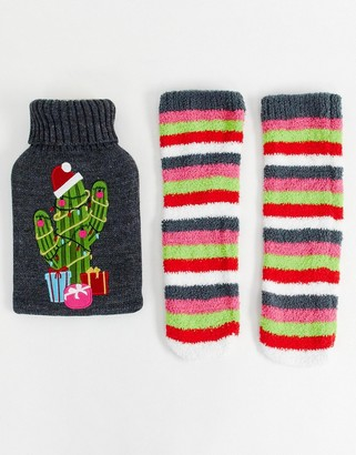 Asos Design DESIGN Holidays cactus hot water bottle and socks pack-Multi