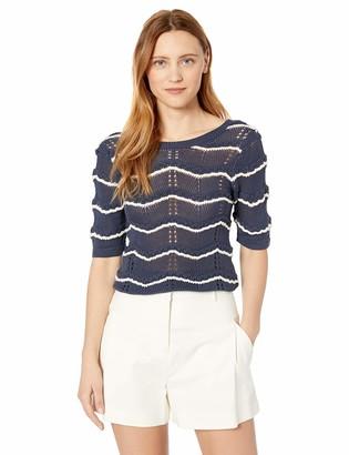 Ella Moss Women's Nina Short Sleeve Pointelle Sweater
