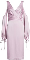 Theia Cold-Shoulder Satin Dress