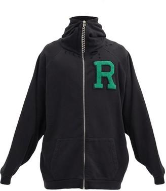 Raf Simons R-logo Zip-up Cotton-jersey Hooded Sweatshirt - Black