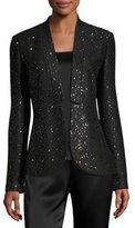 St. John Pranay Sequined Knit Slim Jacket, Black