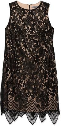 Sharagano Sleeveless Lace Scallop Hem Dress (Plus Size)