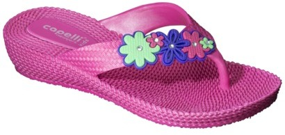 Girl's Flower Faux Woven Jelly Flip Flop - Pink