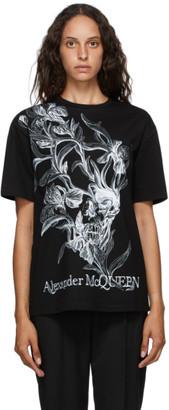 Alexander McQueen Black Iris Skull T-Shirt