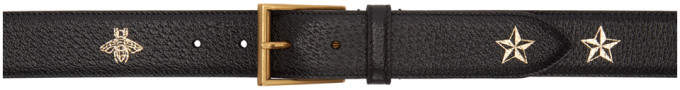 Gucci Black Bees and Stars Belt