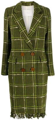 Tela Fringed Hem Houndstooth Coat