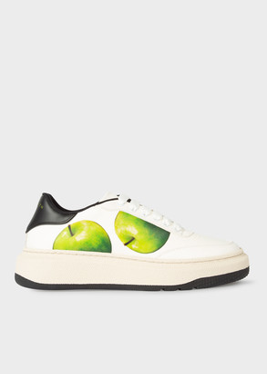 Paul Smith Women's White 'Green Apple' Print Leather 'Hackney' Trainers