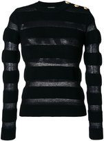 Balmain button-embellished striped jumper - women - Polyamide/Mohair/Merino - 36