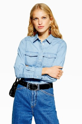 Topshop Womens Fitted Denim Shirt - Mid Stone