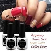 Frenshion Kit of 4 pcs 7.3ML/pc Semi-permanent Nail Polish Gel Nail Polish Soak off UV LED Gel Nails Kit Set Raspberry Sauce Fruit Milky and Coffee Color