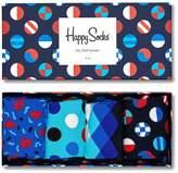Mens Happy Socks Navy Socks Four Pack Gift Box - Black