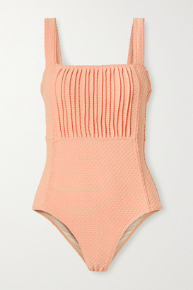 Peony Swimwear Pintucked Swiss-dot Stretch Swimsuit