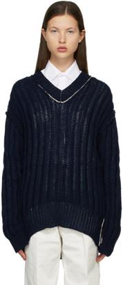 Maison Margiela Navy Knit Stitches Cardigan