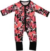 ITFABS Baby Girl Clothes Floral Print Pajamas Sleeper Jumpsuit One-pieces Coveralls