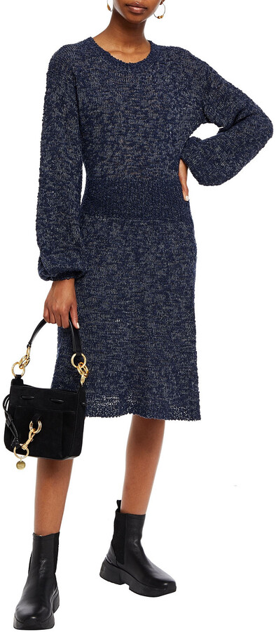 Thumbnail for your product : See by Chloe Marled Boucle-knit Merino Wool-blend Dress