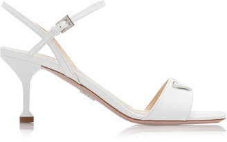 Prada Appliqued Patent Leather Sandals