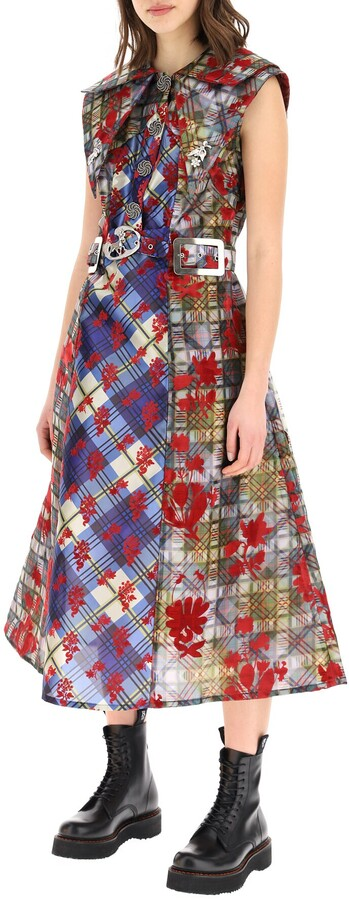 Thumbnail for your product : Chopova Lowena FLOCKED MIDI DRESS S Blue,Red,Yellow
