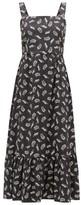 HVN Olympia Leaf-print Cotton-poplin Midi Dress - Womens - Black Print