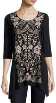 Johnny Was Nova Embroidered-Panel Cotton Tunic