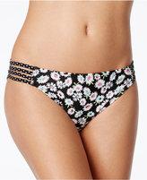 California Waves Daisy Duke Floral-Print Strappy Bikini Bottoms