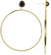 Argentovivo Bezel Set Onyx Large Hoop Earrings